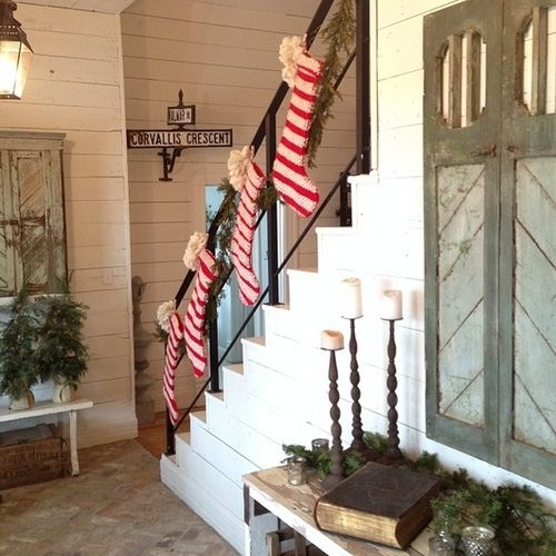 Colors jo o 39 meara and stockings on pinterest for Hang stockings staircase