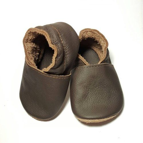 Chocolate brown soft sole leather baby