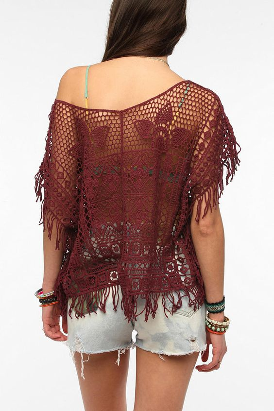 Ecote Island Crochet Kaftan Top... I want this soo bad but bigger and in cream!!