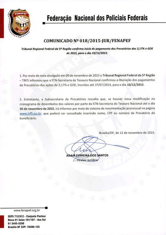 FENAPEF - COMUNICADO Nº 018/2015-JUR/FENAPEF