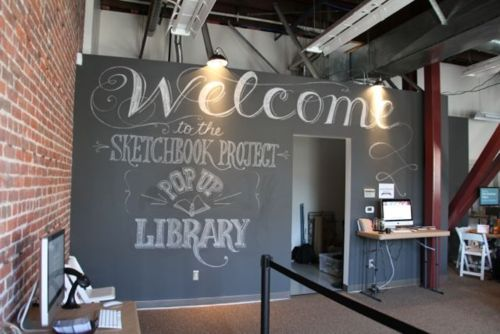 A Pop-Up Library grows in Oakland... • Art House Co-op. this is a great idea, but I think I want chalkboard wall in my house NOW!!!!