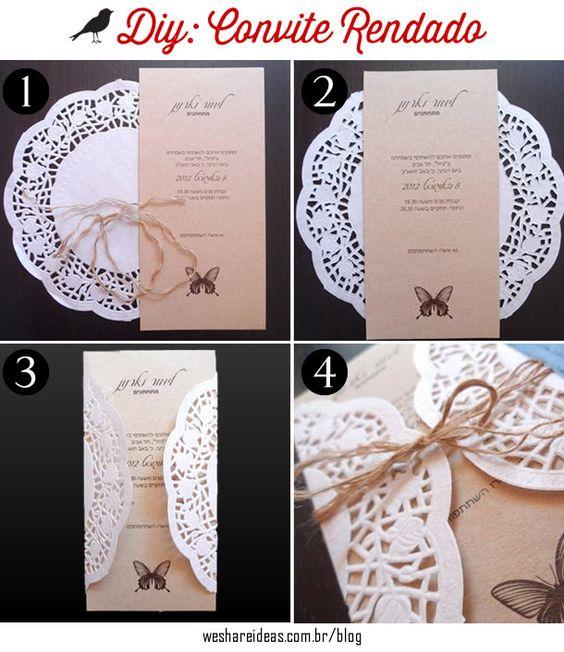 Aprenda como fazer convites de casamento usando toalha de papel rendada e papel craft.: