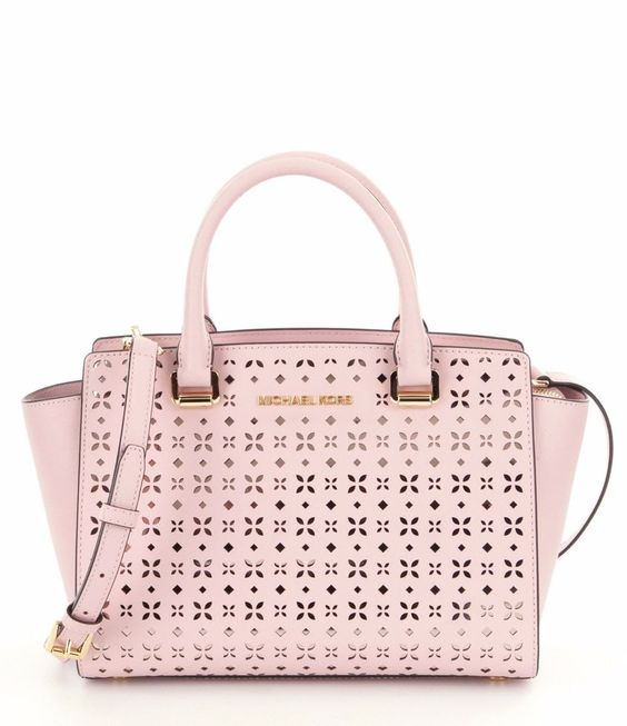 NWT MICHAEL Michael Kors Pink Selma Floral Perforated Medium Satchel Bag New  #MichaelKors #Satchel