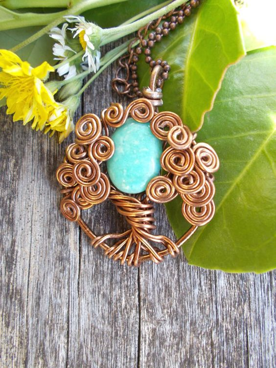The Protector Turquoise Amazonite Tree of life Necklace Pendant in Antique Bronze / Wire Wrapped Tree of Life Pendant / Amazonite Necklace