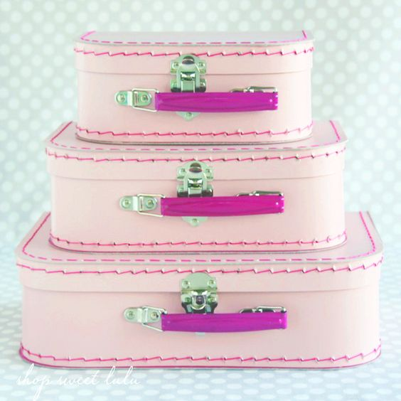 Orchid Pink Paper Suitcase Set - Fuchsia Handles