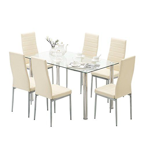 7 Piece Dining Table Set For 6 Chairs Clear Glass Metal Kitchen