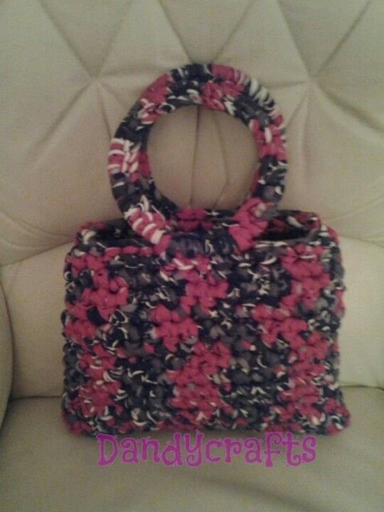 Lovely crocheted bag made in fabric yarn