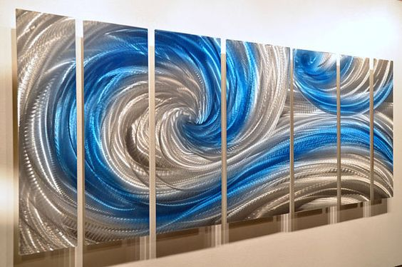 Classy Office Wall Decor : Metal art sculpture classy modern sea wave contemporary
