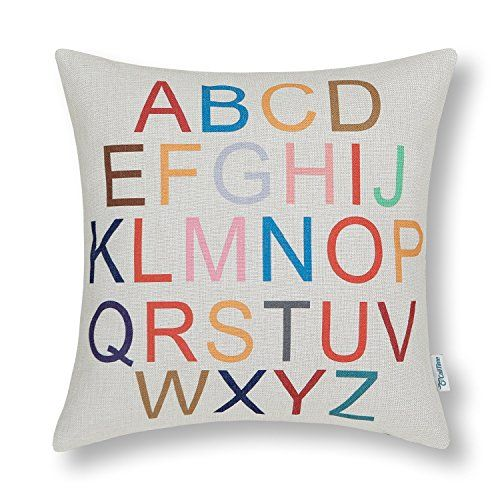 CaliTime Canvas Throw Pillow Cover Shell for Couch Sofa H...