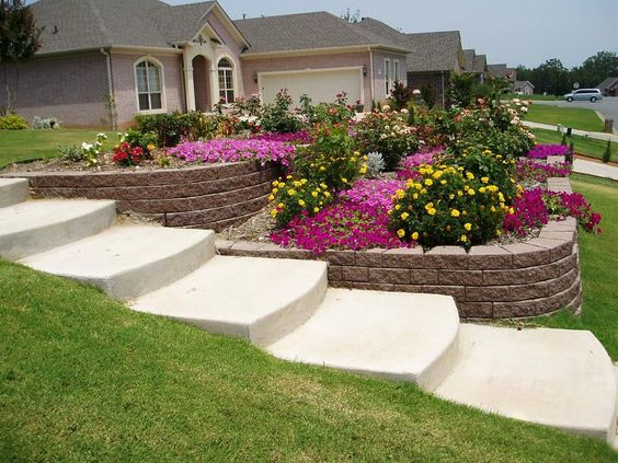 Landscaping a sloped yard tier garden wall installed for Sloped yard solutions