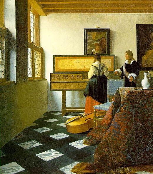 Johannes Vermeer THE MUSIC LESSON c. 1662 oil on canvas 73.3 x 64.5 cm En la mayoría de sus obras con mujeres, la moral es importante. En el cuadro 'Dama parada cerca del clavicordio' 1673 el instrumento, es un «virginal» indicio de la virginidad de la mu