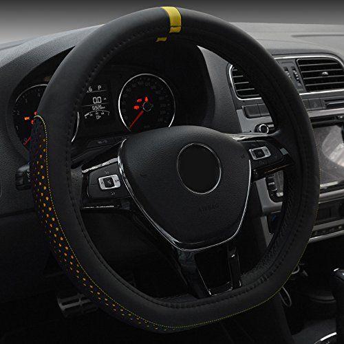 Pu Cuir Noir Couverture volant de voiture