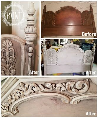 One-day project Tutorial by For Love of the Paint: Before and After : Ornate Vintage Headboard in Annie Sloan Chalk Paint Paloma, Paris Grey, and Pure White. Layered, blended colors, distressing, and chippy paint for a fabulous shabby chic / country chic look! #diy #upcycle