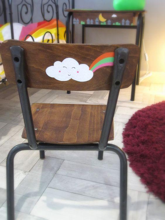 Chaise colier chaise enfant customis e 1 2 3 p 39 tits pois for Chaise ecolier vintage