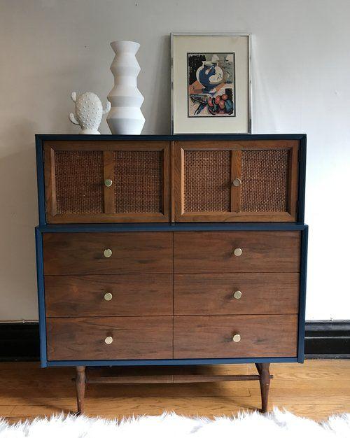 Custom Midcentury Revival Dresser Decor Furniture Refinished Vintage Furniture