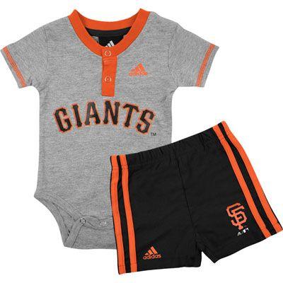 San Francisco Giants Newborn/Infant adidas Creeper Jersey and Shorts Set #giants #sfgiants #mlb