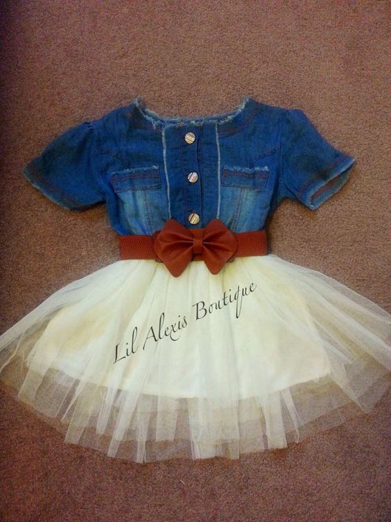 Blue jeans white tulle tutu skirt dress with brown belt ...