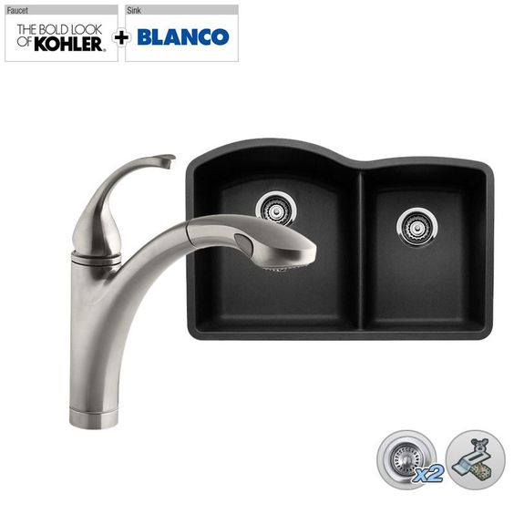 "Build Smart Kits B440179/K-10433 Combo: Blanco 32"" Double-Bowl Granite  Sink wit Vibrant Stainless Faucet Fixture Kitchen Sink Combination"