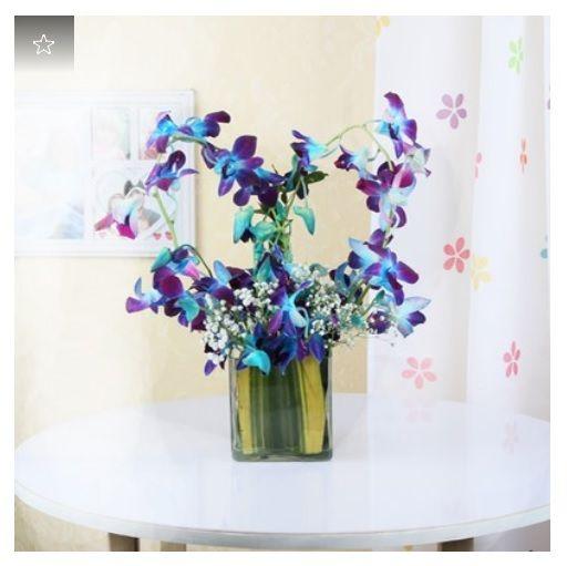Vase Arrangement Of 6 Blue Orchids Purple Flower Arrangements Purple Flower Bouquet Orchids Online