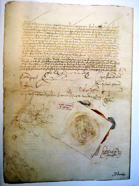 TRATADO DAS ALCÁÇOVAS-TOLEDO - Ratificação por parte de Isabel I de Castela em 1480. Conservada nos Arquivos Gerais de Simancas (Espanha); foi ratificado pelo Rei de Portugal em 1479.