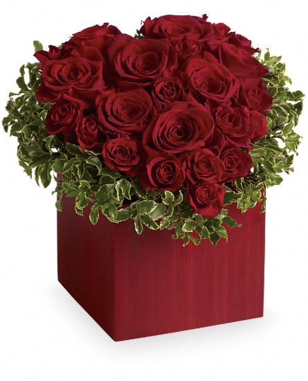 Hopelessly Devoted heart-shaped red roses in bamboo cube vase by Teleflora Flowers: