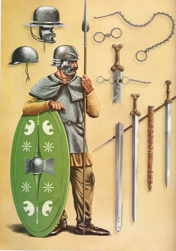 A Gallic warrior around 50 BC. He is certainly the type of warrior who would have challenged Caesar's legions. The weapons surrounding him show the high level of Celtic expertise in iron work.
