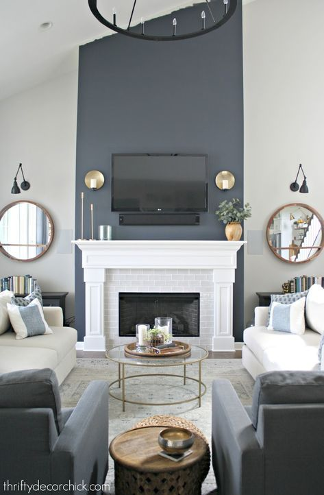 Tall Fireplace Wall Transformation With Paint Accent Walls In Living Room Living Room Designs Fireplace Accent Walls