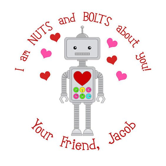 Robot Personalized Stickers Valentines Day Goodie by maxandbella, $5.95