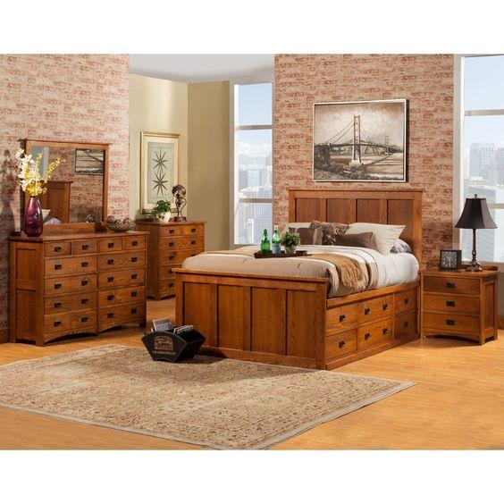 Mission Wood Pedestal Storage Bed in Mission Oak by Williard