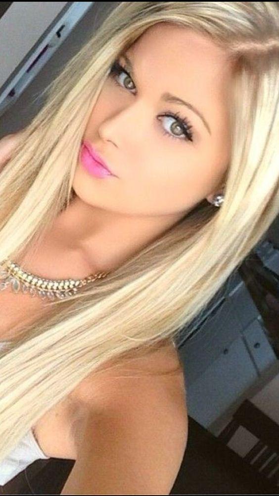 Love her makeup, and platinum blonde hair.