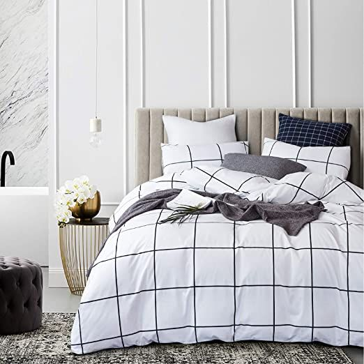 Jumeey Black And White Bedding Twin Grid Plaid Duvet Cover White Buffalo Checkered Bed Set Twin Size Cotton T White Bed Covers Bed Comforter Sets White Bed Set