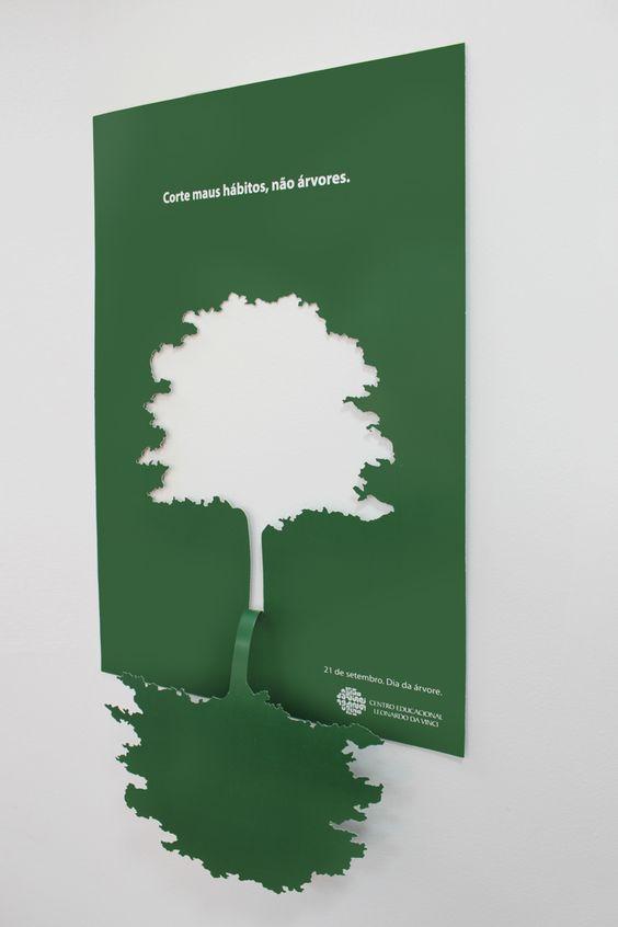 """Para o 21 de setembro – Dia da Árvore, a Aquatro criou um cartaz diferenciado para o Centro Educacional Leonardo da Vinci. Com o conceito """"Corte maus hábitos, não árvores"""", a peça foi feita em recorte especial e teve por objetivo estimular a conscientização ambiental dos estudantes e reforçar a importância dos seus hábitos diários sustentáveis."""