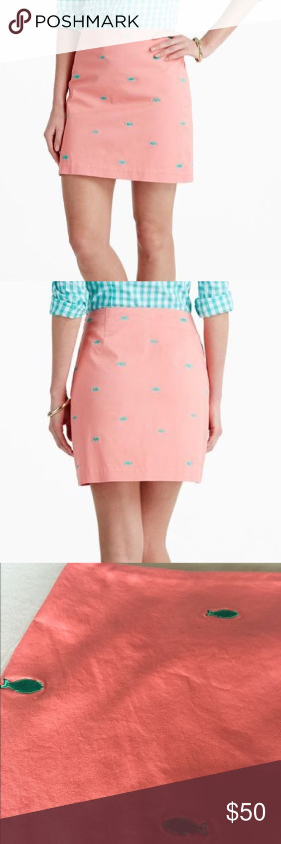 Vineyard Vines Fish Embroidery Coral Margo Skirt Beautiful Vineyard Vines NWT coral skirt with turquoise embroidered fishes on it. Waist measures 15 inches across. Length of skirt is 16.5 inches. Side zipper. Shell is 96% cotton and 4% spandex. Lining is 100% cotton. Color of the skirt is shown best in the last two pictures. Vineyard Vines Skirts