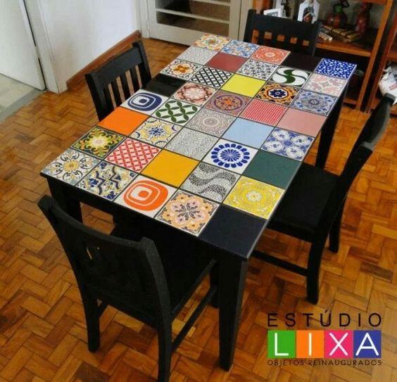 Reformando mesa com mosaico de azulejos!