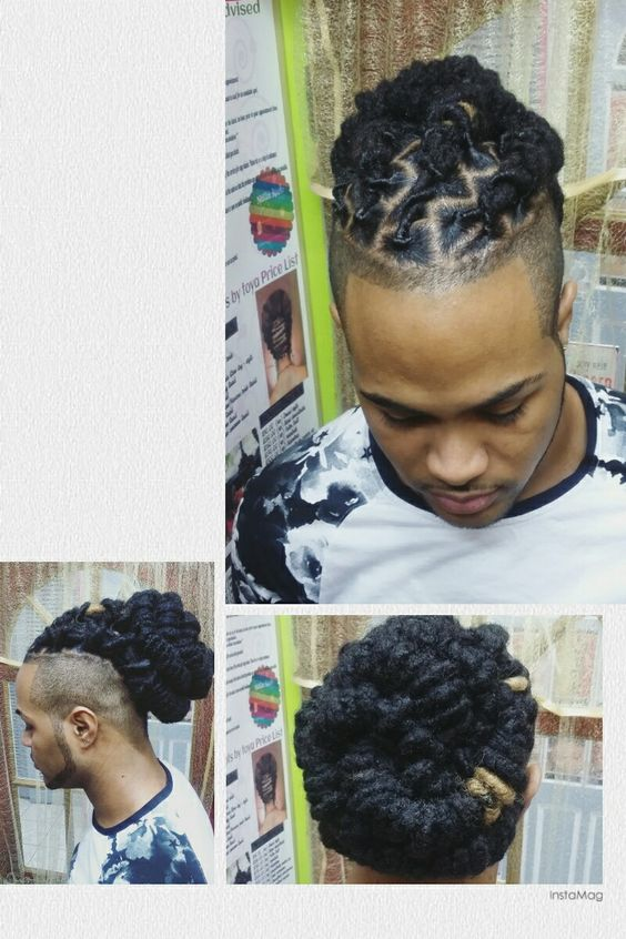 Locs palm rolled and styled at nubian roots by toya