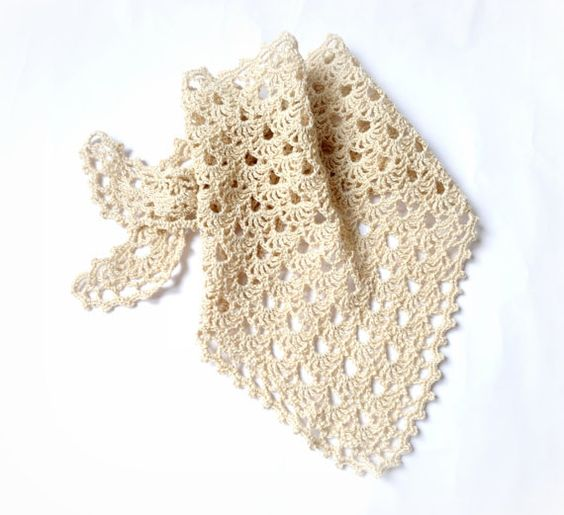 Cream Kerchief Crochet Shawl Hair Bandana Crochet by OrangePeace, $20 ...