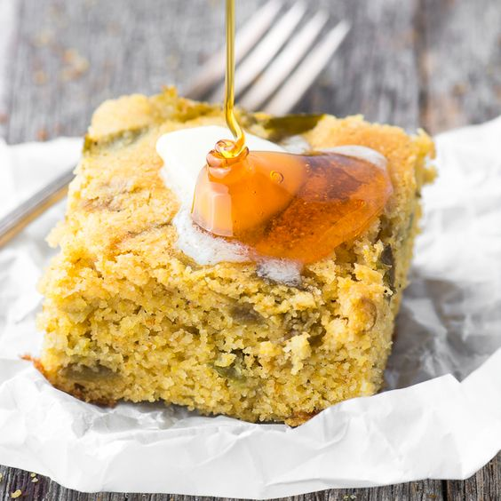 Hatch Green Chile Cornbread is tender and moist, ever so slightly sweet, with a…