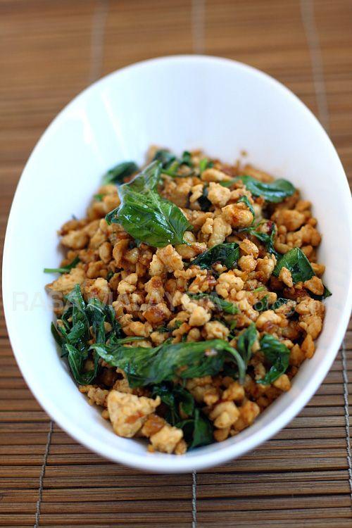 Basil Chicken (Gai Pad Krapow) - chicken, garlic, shallots, sweet soy sauce, basil #Thai
