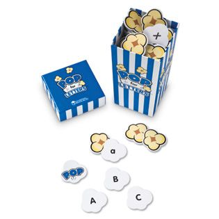 Can easily make this game! Get a popcorn container from Target's $ section and create popcorn cut-outs with letters on them. Kids pick one piece of popcorn, say the letter (and if they know it, the sound). When someone gets a POP card, everyone gets up and jumps around!