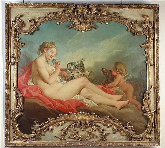 Follower of Francois Boucher French School, 18th century  VENUS AND CUPID