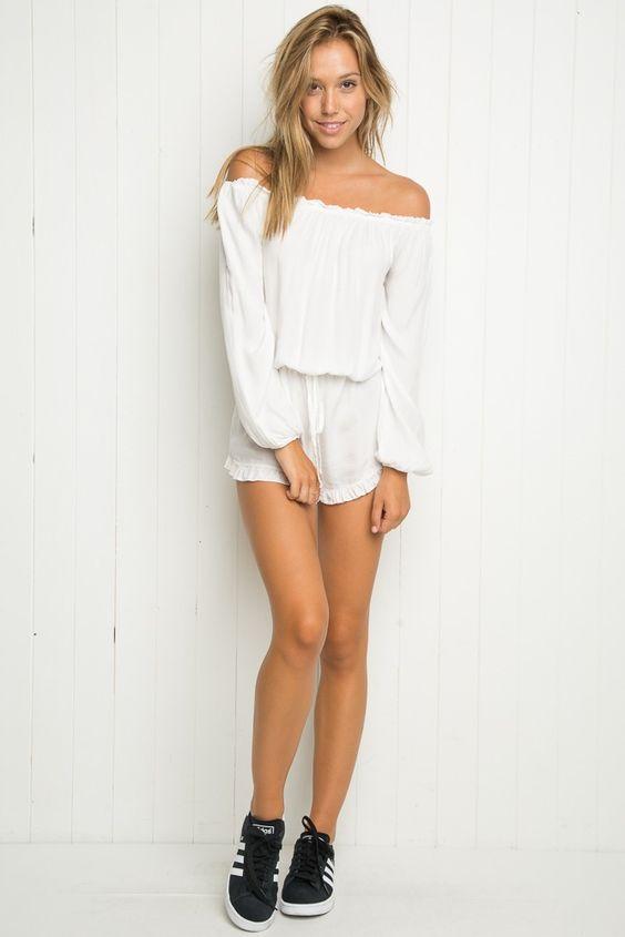 Brandy ♥ Melville | Gabriella Romper - Off-the-shoulder - Clothing