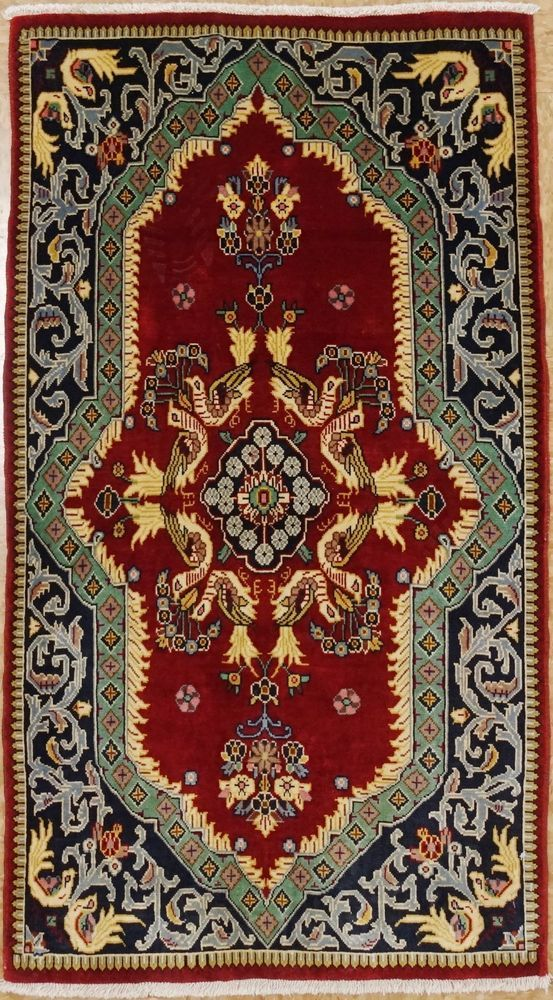 Persian Kashann Hand Knotted Wool Red Love Birds Wonderful Oriental Rug 2 X 4 Persiankashannpictoriallovebirds Desenler Hali Halilar