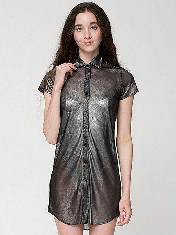 Shiny Mesh Button Up Dress by #AmericanApparel Cali Sun & Fun