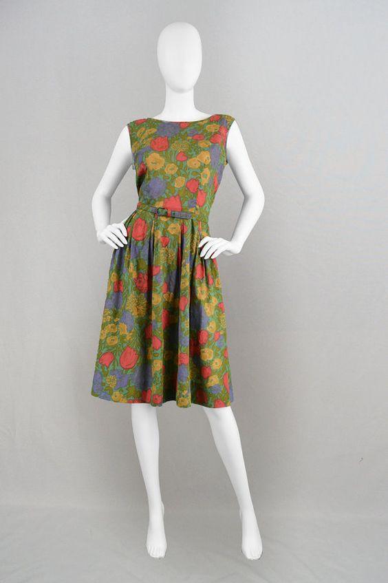 Vintage 60s Sundress Green Cotton Sun Dress Full by ZeusVintage