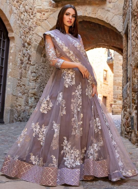 Dusty Purple And Silver Embroidered Lehenga Indian Wedding
