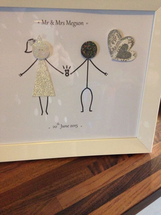 Personalised Button Family Picture. Hand Made To Suit You - Wedding/Anniversary