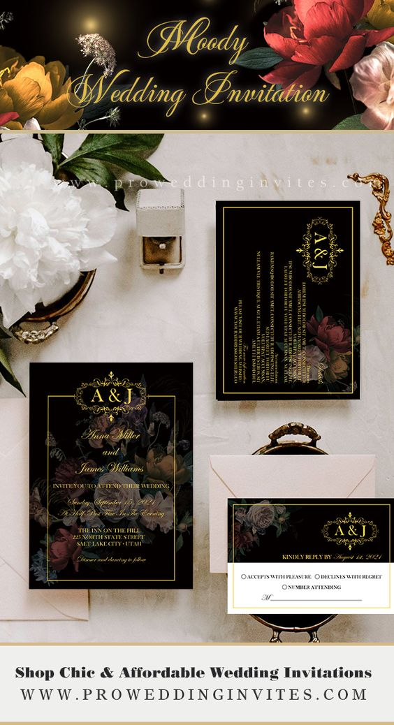 Glamorous Black Winter Wedding Color Palette Ideas