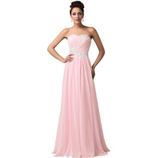 Light Pastel Pink Long Strapless Women&-39-s Formal Dress ...