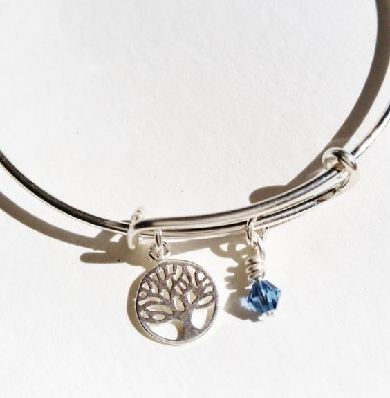 Sterling Silver Tree of Life Bracelet, Sterling Silver Adjustable Bangle, Swarovski Crystal Charm Bracelet, Uk Seller by Silverre on Etsy https://www.etsy.com/uk/listing/244918639/sterling-silver-tree-of-life-bracelet