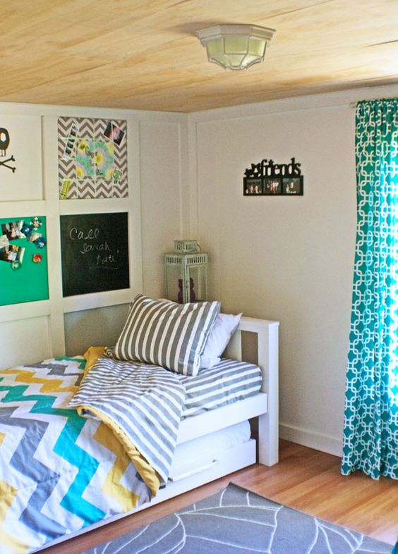 Turquiose & black Teen Bedroom Decorating Ideas | Then there was her wall makeover. She already had the grid system in ...